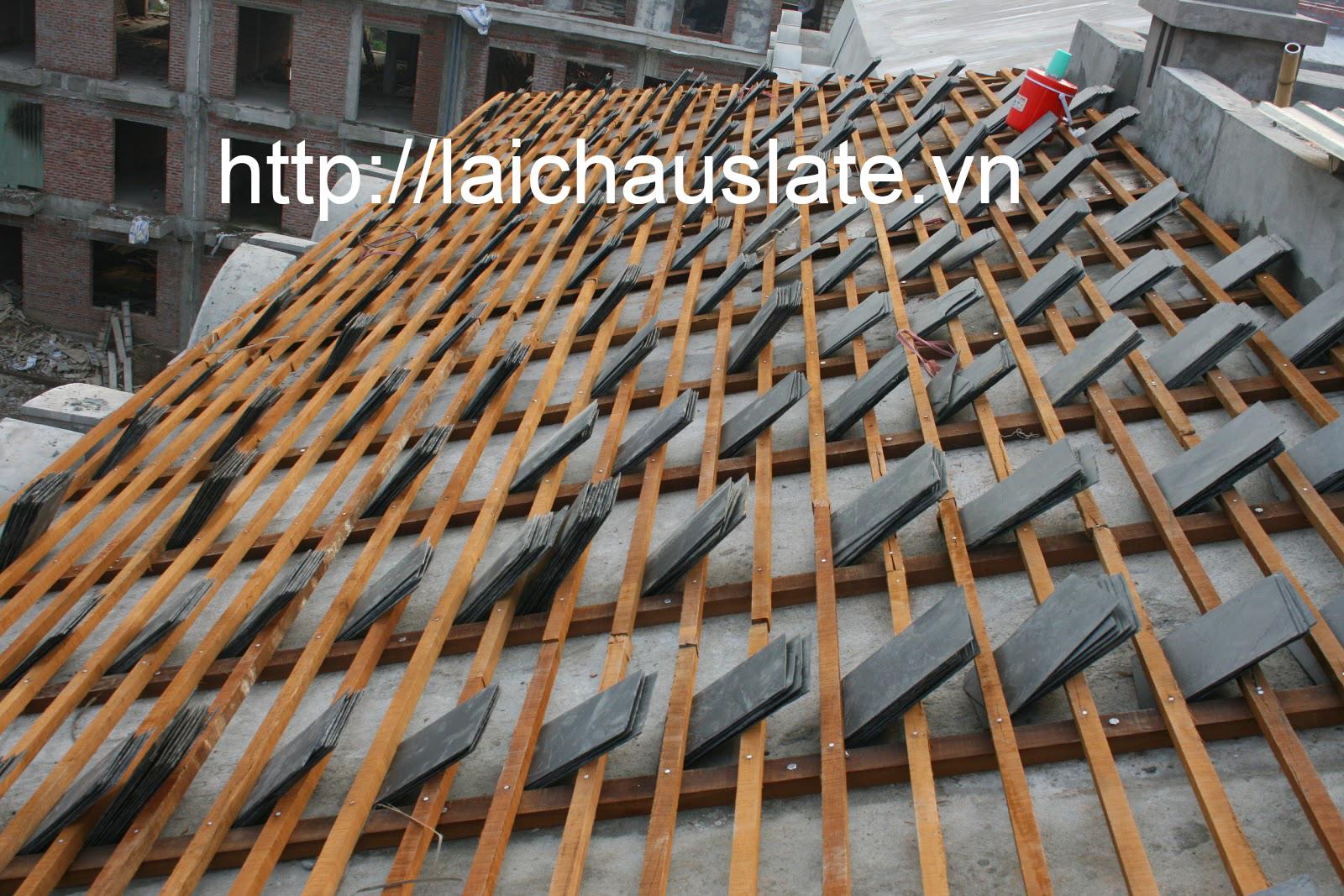Lợp mái đá Slate bằng pp Cầu Phong Lito