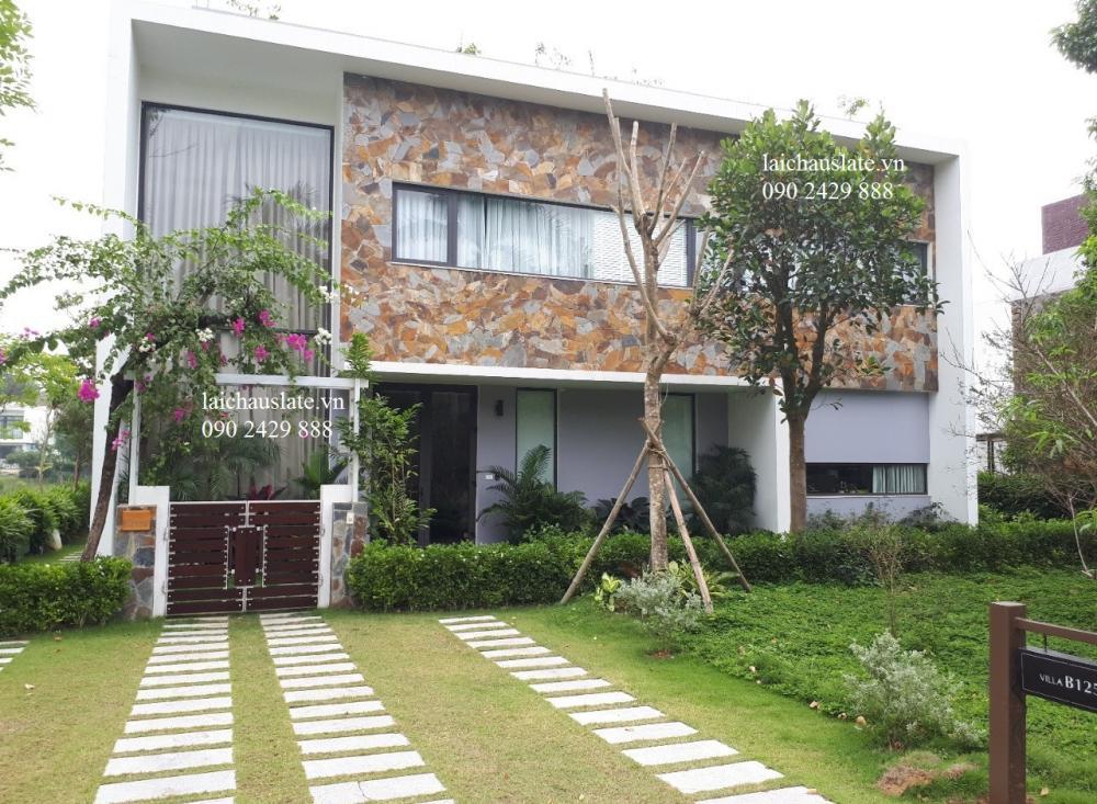 Đá Phiến Lai Châu ốp tường tại biệt thự Đại Lải