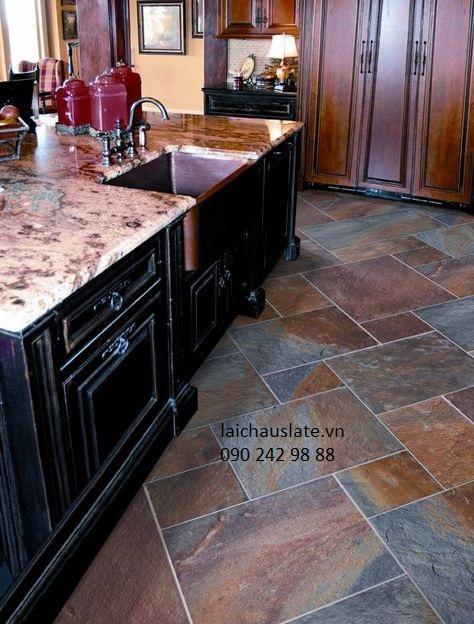 9 ý tưởng lát nền nhà bếp với đá Slate