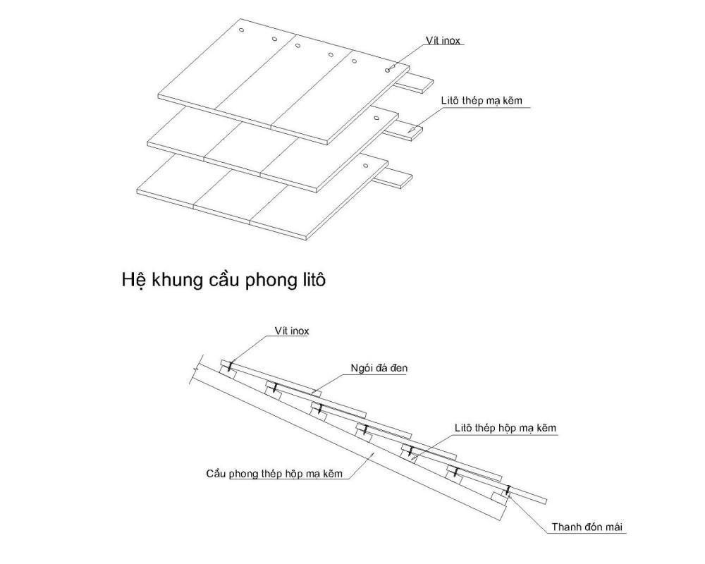 Biện pháp thi công mái Đá Lai Châu- Khung xương cầu phong Lito